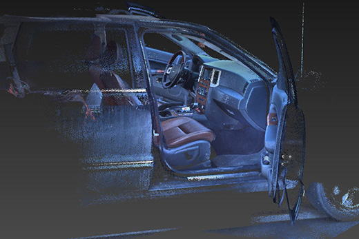 FARO 3D laser scan example, exterior and some interior of car.